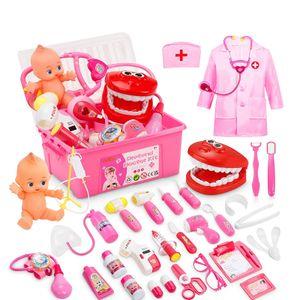 21 Teile Arztkoffer Kinder, Doktorkoffer Kinder Rollenspiel Spielzeug Mit Rosa Arztkittel Und Puppe