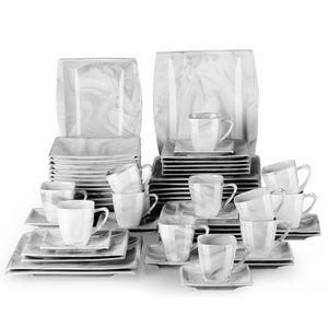 MALACASA, Serie Blance, Kombiservice 60 Tlg. Marmor Porzellan Geschirrset eckig Tafelservice mit 180 ml Kaffeetassen, Unterteller, Dessertteller, Tiefteller und Flachteller