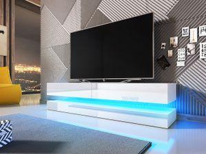 Mirjan24 TV-Lowboard Fly 140, TV-Schrank vom Hersteller, RTV mit Beleuchtung, Wohnzimmer (Weiß / Weiß Hochglanz)