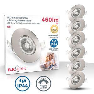 6er Set LED Bad Einbauleuchten Ultra Flach 25mm Ø90mm Matt-Nickel 6 x 5W LED Platinen 460 Lumen 3.000K Warmweiß IP44 Bad- Einbaustrahler B.K.Licht