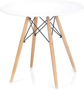 Esstisch Durchmesser 80 cm MDF Board Holz Rund Weiß Tebe Weiß ,Rund Ø 80 cm
