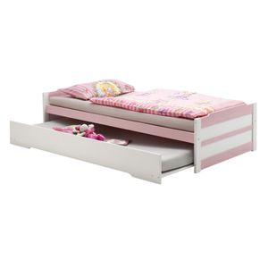 Tandembett LORENA, weiß/rosa, 90 x 200 cm