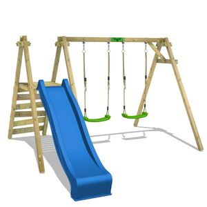 FATMOOSE Kinderschaukel Schaukelgestell JollyJack mit blauer Rutsche Schaukel, Schaukelgerüst, Doppelschaukel, Holzschaukel