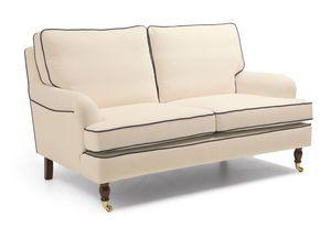 Max Winzer Passion Sofa 2-Sitzer - Farbe: creme mit dunkelblauen Keder - Maße: 158 cm x 108 cm x 94 cm; 2914-2100-1645215-1645246-F07