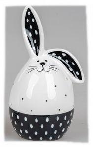 Deko-Ei mit Ohren schwarz weiss 15cm Steingut