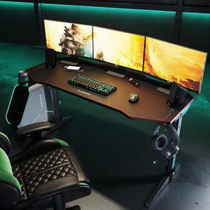 SUNXURY  Gaming Tisch mit LED Beleuchtung 140 cm Computertisch Schwarz