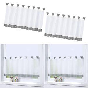 2pcs/Set Bistrogardine Kaffee Küchen Scheibengardine Fenster Vorhang aus Polyester
