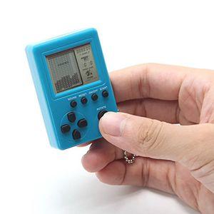 Mini tragbare Schlüsselbund Anhänger Tetris Spielekonsole Retro Classic Gaming Machines-Himmelblau