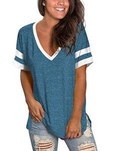 Frauen's lässig T-Shirt V-neck Kurzärmel genäht Top split hem,Farbe: Blau,Größe:M