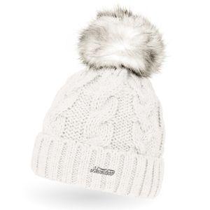 Damen Strick-Mütze gefüttert Fell-Bommel Kunstfell Winter-Mütze Bommelmütze Neverless® creme unisize