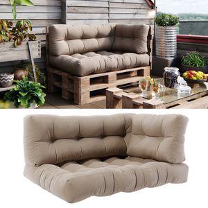 Vicco Palettenkissen Set Sitzkissen + Rückenkissen + Seitenkissen 15cm hoch Palettenmöbel Flocke sand
