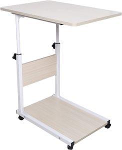 C-Form Beistelltisch Beweglicher Schreibtisch Höhenverstellbar Nachttisch mit Rollen (weiß)