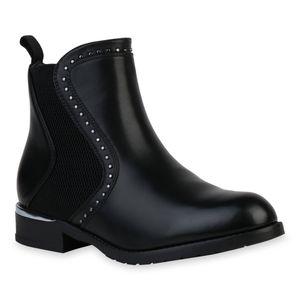 Mytrendshoe Damen Stiefeletten Chelsea Boots Blockabsatz Nieten Schlupf-Schuhe 835722, Farbe: Schwarz, Größe: 38