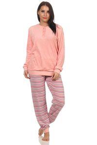 Damen Frottee Pyjama Schlafanzug mit Bündchen und Sternen Applikation, Hose geringelt, Farbe:rose, Größe:36-38