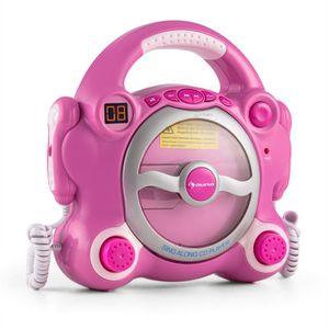 auna Pocket Rocker - Karaoke Anlage Set, CD Player, Wiederholfunktion, programmierbar, Batteriebetrieb, 2 x Mikrofon, Tragegriff, pink