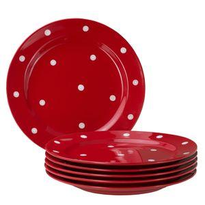Emily 6er Set Speiseteller rot-weiß gepunktet rund Ø275mm großer flacher Steingut Essteller