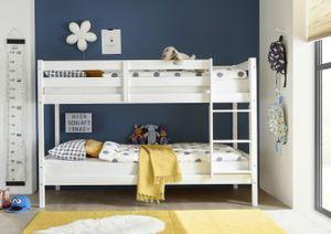 Etagenbett Alain Kiefer massiv weiß  teilbar zu 2 Einzelbetten Kinderzimmer Hoch Doppel Stockbett