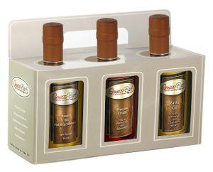 Geschenkbox  3x 350ml mit Landöl Butter / Peperoni Öl pikant / Pastaöl - cholesterinfrei laktosefrei Rapsöl VEGAN