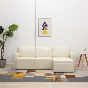 Modulares 3-Sitzer Schlafsofa Creme Kunstleder Wohnlandschaft-Sofa Relaxsofa für Wohnzimmer Schlafzimmer Esszimmer