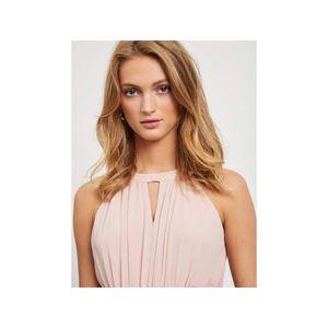 VILA Milina Maxi-Kleid elegantes Damen Abend-Kleid mit Spitzenbesatz Rosa, Größe:38