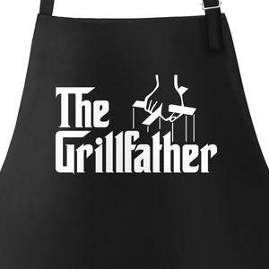 Herren Grill-Schürze The Grillfather Schürze zum Grillen BBQ Baumwoll-Schürze mit Tasche Moonworks® schwarz unisize