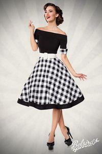 Schulterfreies  Retro Swing Kleid in schwarz/weiß Größe S = 36