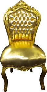Barock Esszimmer Stuhl Gold / Gold