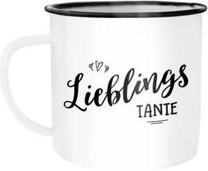 Emaille Tasse Becher Lieblingstante Geschenk Familie Tante Kaffeetasse Moonworks® weiß-schwarz unisize