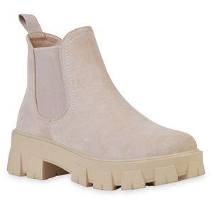 VAN HILL Damen Stiefeletten Plateau Boots Blockabsatz Profil-Sohle Schuhe 836326, Farbe: Nude Velours, Größe: 39