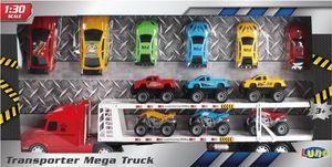 Luna Mega Auto Transporter 59cm Truck Lastwagen Hauben LKW m. Auflieger 12 Autos