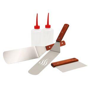 BBQ-Toro 5-teiliges Edelstahl Grill Plancha Zubehör Set   Teppanyaki Werkzeug