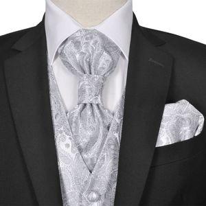 Herren Paisley-Hochzeitswesten-Set Größe 52 Silber