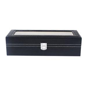 Uhrenbox / Kasten für 6 Uhren-Aufbewahrung, Uhrenschachtel Uhrenetui Uhrenvitrine mit Acrylfenster