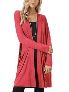 Strickjacke für Damen in Übergröße Strickjacke für Damen mit langen Ärmeln Top,Farbe: Wassermelonenrot,Größe:XXL