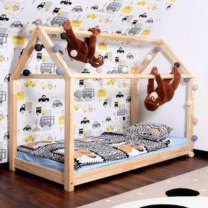 Hausbett Kinderbett Spielbett Holz Haus Bett mit Lattenrost 160x80x130 cm - Natural