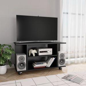 Huicheng TV-Schrank mit Rollen Schwarz 80×40×40 cm Spanplatte