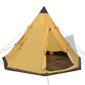 Huicheng Tipi Zelt 365 x 365 x 250 cm Indianerzelt Campingzelt 4 Personen Pyramidenzelt Gelb, VD32241_DE