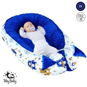 Babynest Nestchen Baby Nest Babynestchen Kokon Kuschelnest für Neugeborene Babybett Liegekissen 90x50 cm Dunkelblau mit Teddybären und Füchsen