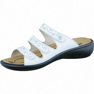 Romika Ibiza 66 modische Damen Glattleder Pantoletten weiß, Lederfutter, Romika Lederfußbett, 1436206/38