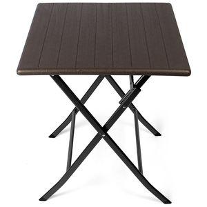 Park Alley Gartentisch Klapptisch Beistelltisch braun Rattan Tisch Klappbar