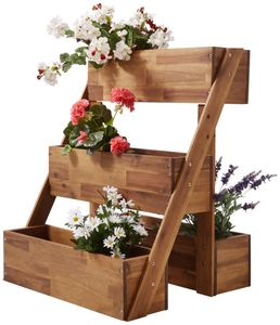 Countryside®  Blumentreppe aus Akazienholz, 4 Pflanzfächer, Größe ca. B 66 x H 80 x T 53 cm