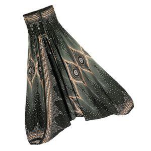 Baumwolle Haremshose Boho Aladdin Haremshose Overall Kostüm für Damen Schwarz Grün