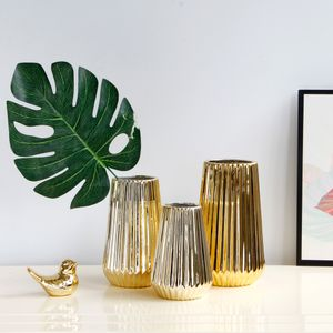 Keramikvasen Blumenvase Tischvasen Geschenkvase Blumenkübel, Gold