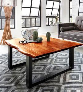 Couchtisch Baumkante 120 x 80 cm Akazie cognacfarben schwarz IDA