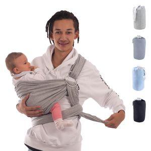 Babytragetuch & Ring Sling 2 in1, Elastisches Baby Tragetuch mit Aluminium-Ringe für Neugeborene. Babytrage & Tragehilfe für alle mit Trageanleitung. BabyBino Einschlagdecke das perfekte Geschenk