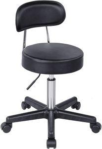 SONGMICS Rollhocker höhenverstellbar Sitzhocker Arbeitshocker bis 100kg belastbar Barstuhl Bürohocker drehbar schwarz LJB81B