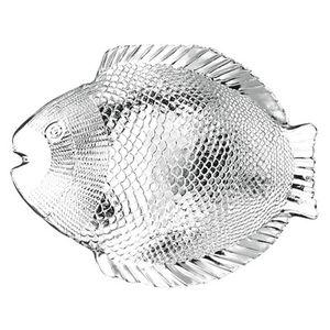 6 Fischteller / Fischservierplatten 35,5 x 25,4cm aus Glas