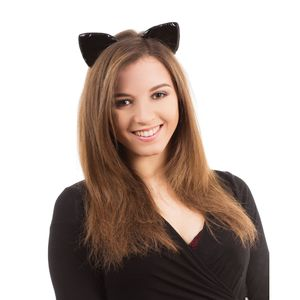 Bristol Novelty Unisex Katzenohren-Haarreif, glänzend BN1206 (Einheitsgröße) (Schwarz)