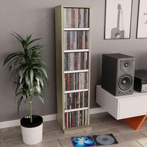 CD-Schrank Medienregal Weiß Sonoma-Eiche 21x20x88 cm Spanplatte
