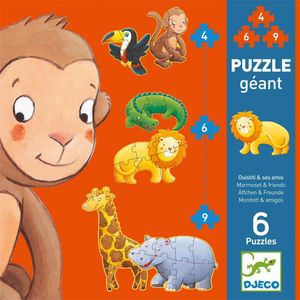 Djeco Riesenpuzzle Äffchen und Freunde 6 Puzzles 130 cm ab 2 Jahren